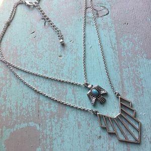 silver & turquoise thunderbird boho necklace